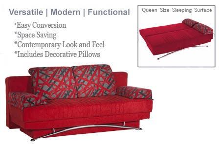 Red Futon Couch Fantasy Contemporary