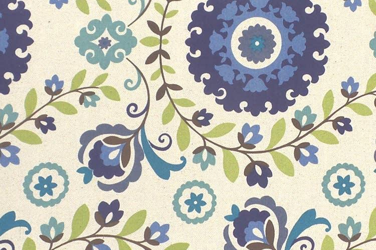Blue Floral Pattern Cotton Futon Slipcover - Twin Xl