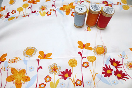 10 Flowers Sateen - Floral Pattern Organic Cotton Futon Cover