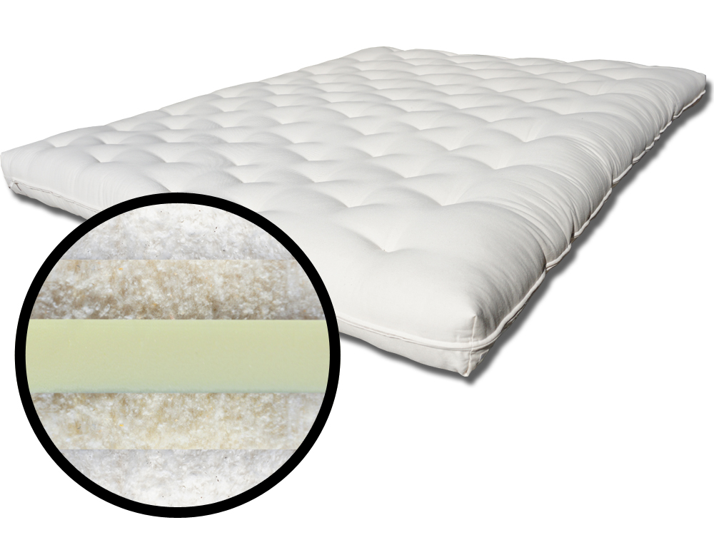 The Futon Shop Twin Wool Cotton Core Foam Futon Mattress
