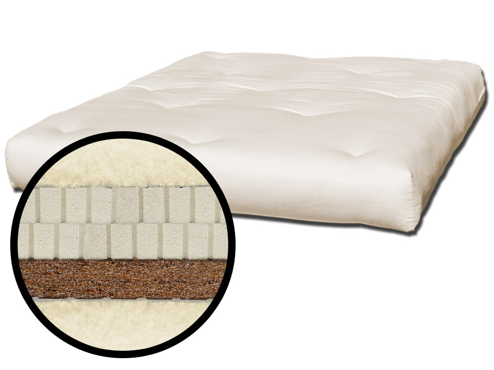 The Futon Shop Latex Wool Coconut Coir Mattress Twin Coco Support