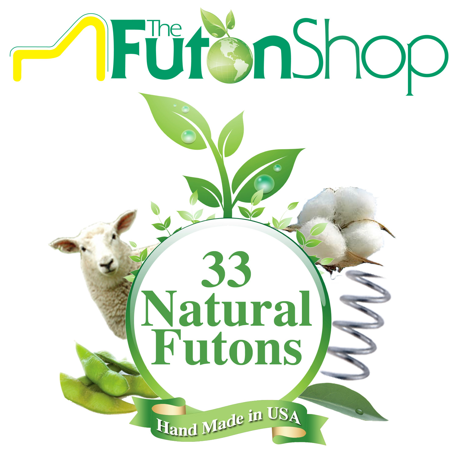 Pure Comfort Organic Cotton & Wool Futon Bed Mattress - Chemical Free Organic Cotton & MicroCoils - Medium Firm by The Futon Shop