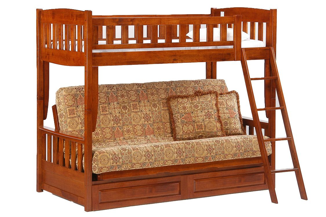 Futon Bunk Bed Cherry Cinnamon Twin Full Kids Bunk The Futon Shop