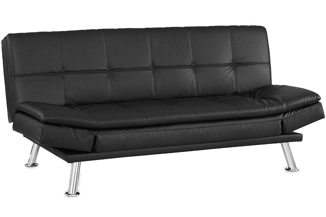 Black Leather Futon Lounger Niles