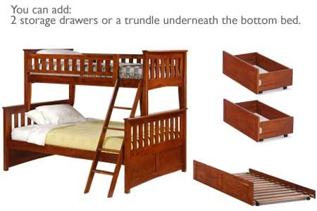 Wood Bunk Trundle Bed Cherry Ginger