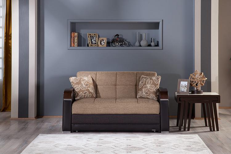 Alissa Light Brown Modern Upholstered Futon