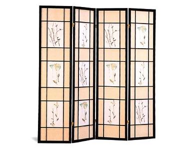 Black Shoji Screen with Floral Design