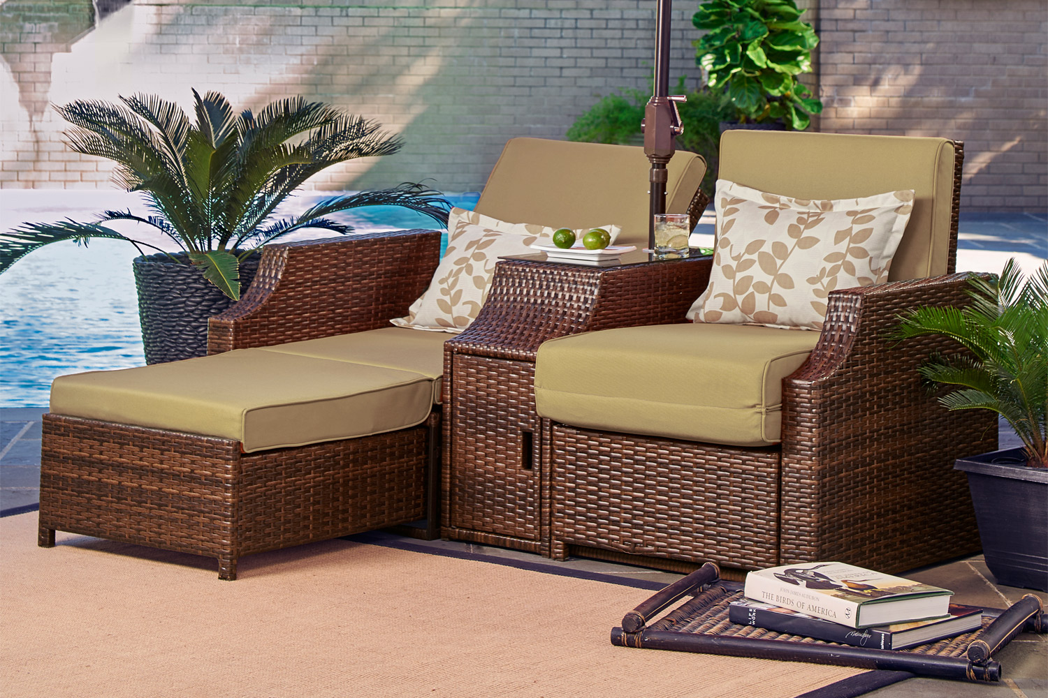 Outdoor Futon Sofa Bed Lounger Santorini Sand