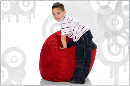 Little Boy rolling his Jaxx Sac Bean Bag Chair