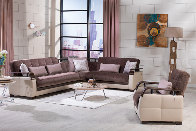 Dogal Brown Sectional Sleeper