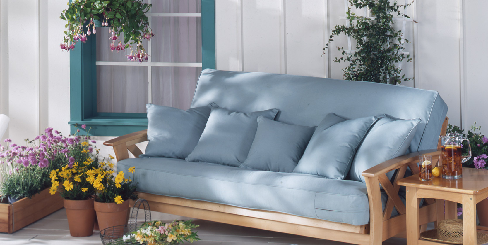 Futon Slipcovers and Pillows - Outdoor Fabrics