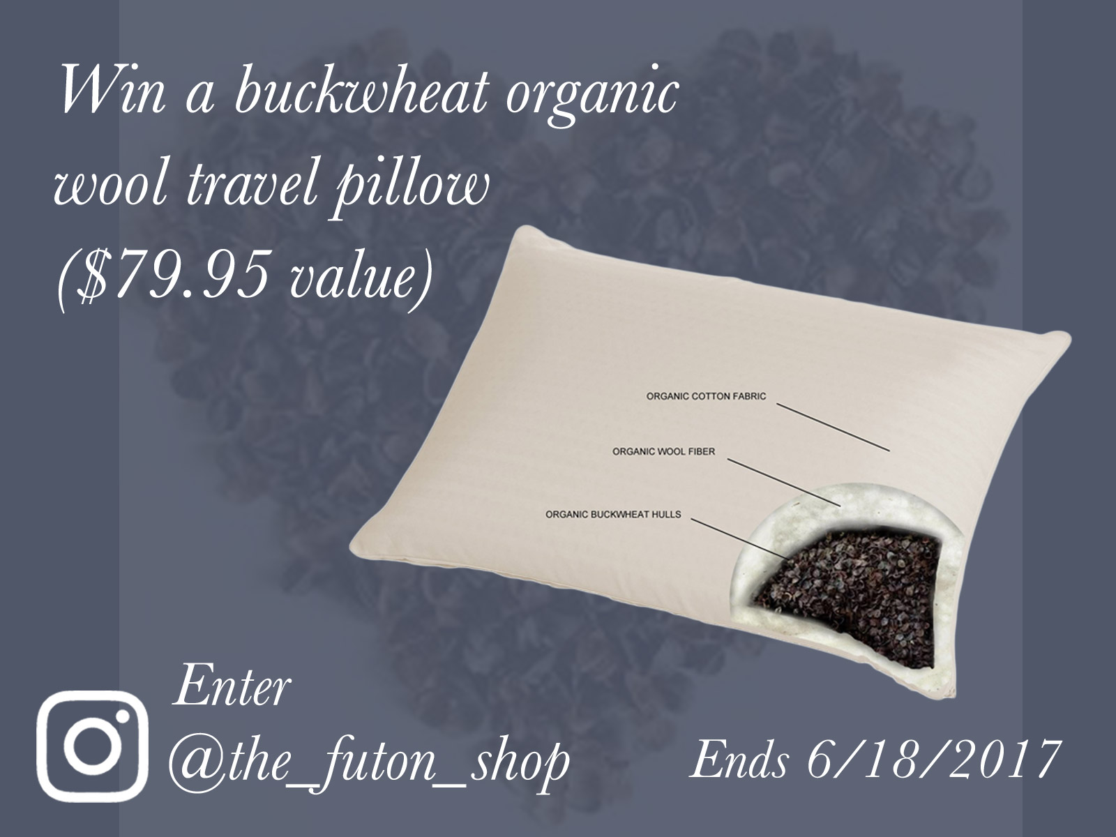 The Futon Shop's Father's Day Free Travel Size Buckwheat Organic Wool Pillow Giveaway
