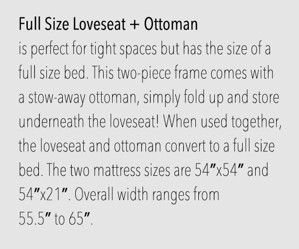 Full Loveseat Size Futon Frames
