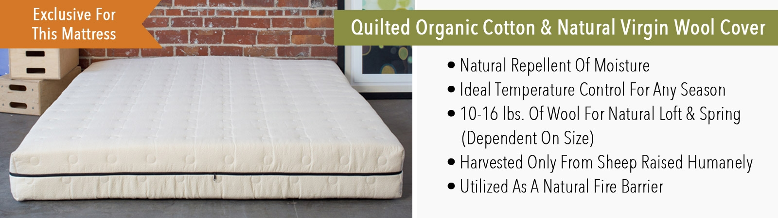 Quilted Organic Cotton and Natural Virgin Wool Cover