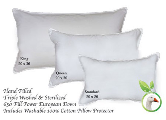 All Natural Hand Made Down Bed Pillow