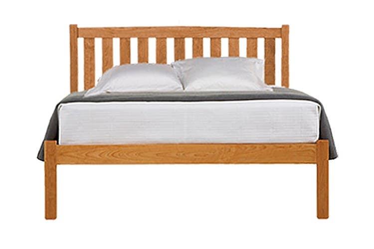 Crown Mission Natural Cherry Wood Platform Bed Frame