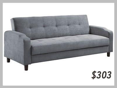 Reno Modern Futon Sofa Bed Sleeper Grey