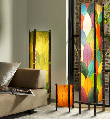 Green Lighting - Fortune Multicolor Cocoa Leaf Floor Lamp | The ...