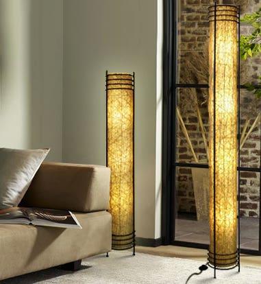 Green Lighting - Natural Abaca Fiber Tower Lamp | The Futon Shop