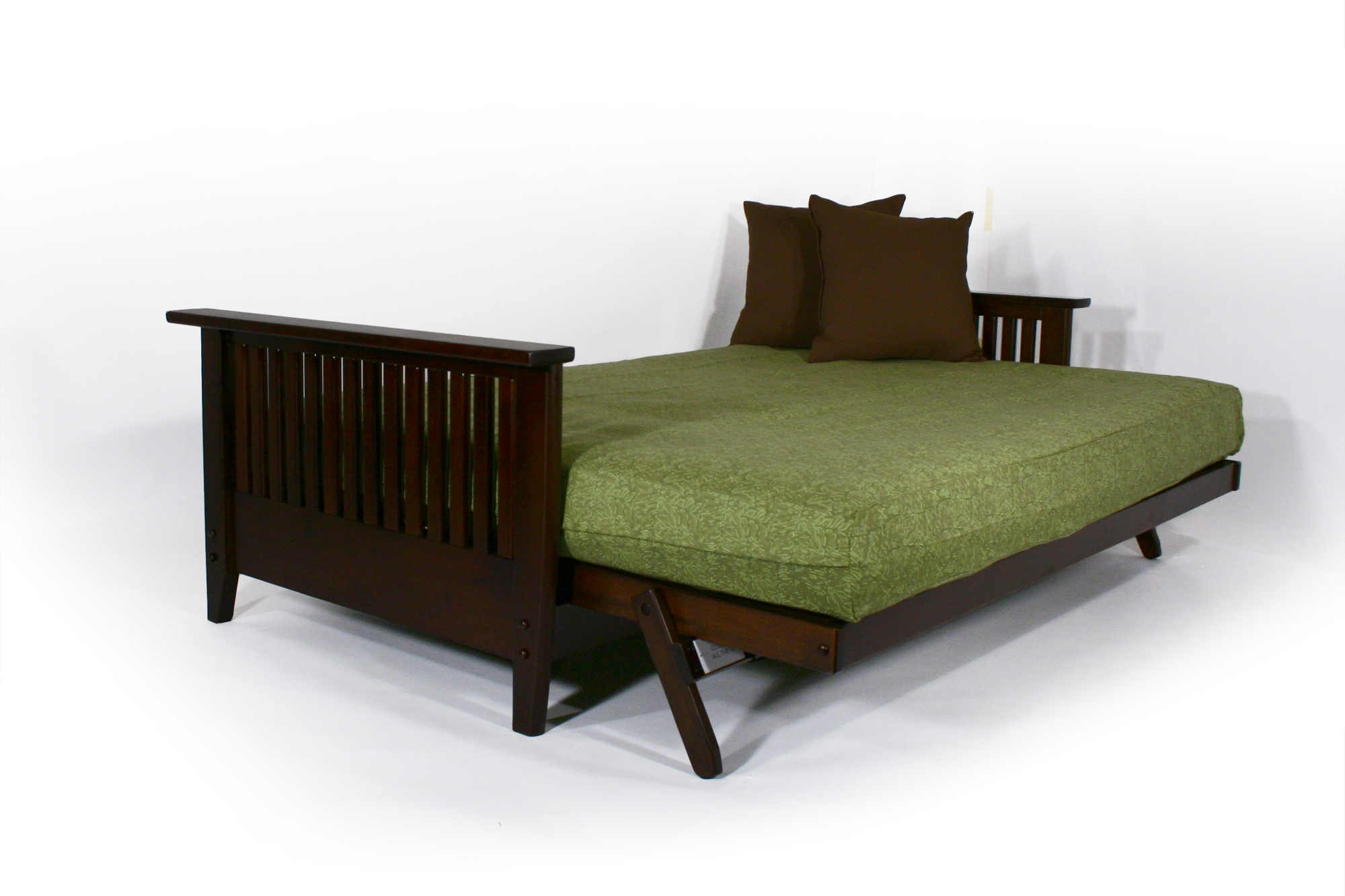 Dark Cherry Wall Hugging Futon Sofabed Denali Wooden