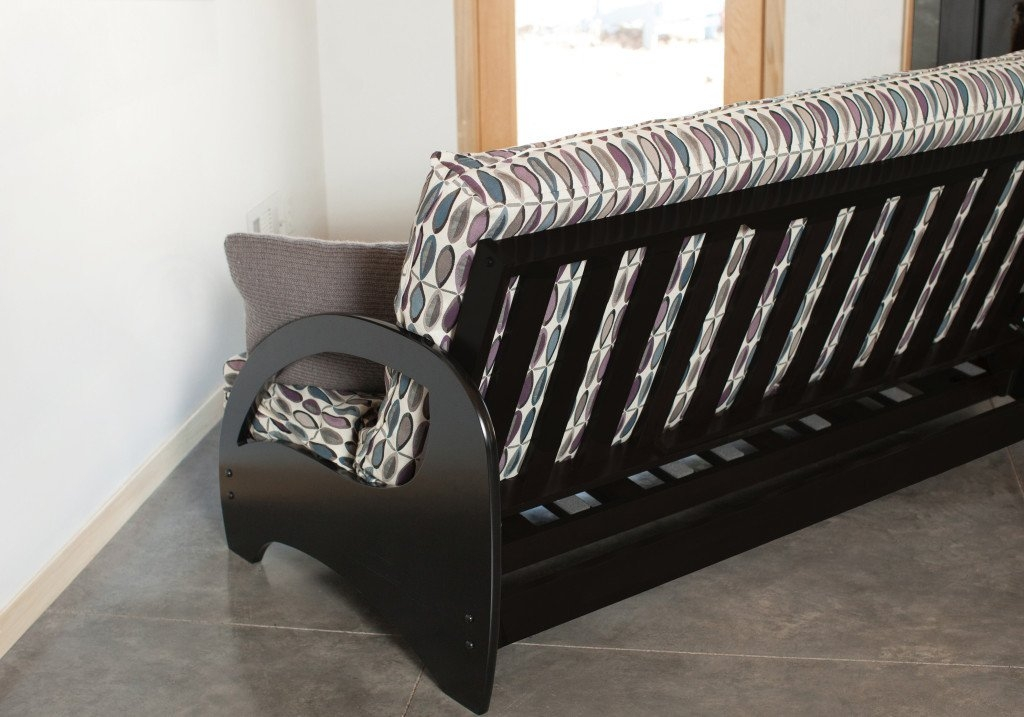 Black Walnut Wall Hugging Couch Futon Bed Metro