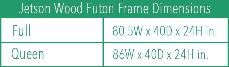 Jetson Wood Futon Frame in Java Finish dimension